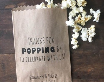 Thanks For Popping By Popcorn Bags, Wedding Favor Bag, Popcorn Buffet Bags, Personalized Wedding Favor Bags, Snack Bar Buffet Bags