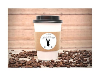 Baby Shower Party Favors, Hot Cocoa Cup Sleeves, Hot Chocolate Bar, Coffee Cup Insulators Deer, Outdoor, Boy, Rustic