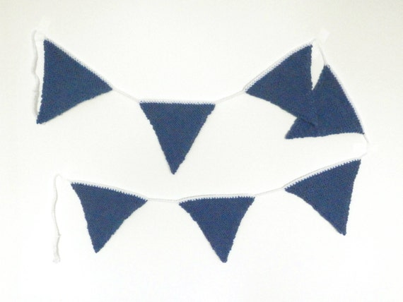 Denim Blue Bunting Banner Colorful Wall Art Decoration Knit Garland Home Decor Colorful Decoration Gift for Her Party Supplies