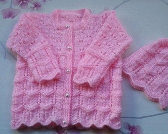 Hand knitted Girls Pink  Cardi with matching Bonnet/12-18months/20ins chest/OOAK/Ready to Ship