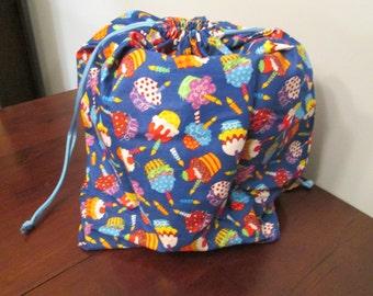 Fabric gift bag - Blue birthday cupcakes