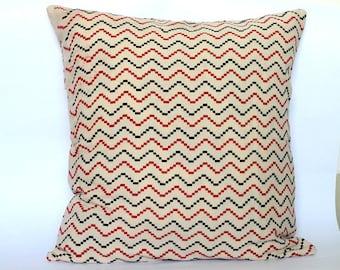 Chevron Stripes black and Red Block Print Pillow cover, throw pillow, Block print Chevron print pillow cover
