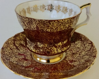 Tea Cup and Sauce Burgundy and Gold