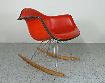 mid century modern Herman Miller Eames upholstered fiberglass RAR rocking chair
