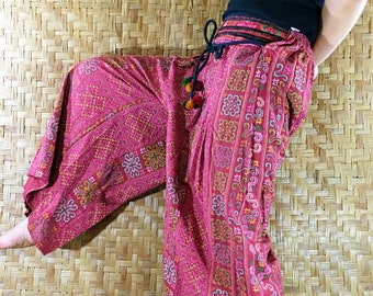 Thai long wide Pants, Cotton Style in Shades of Pink Red