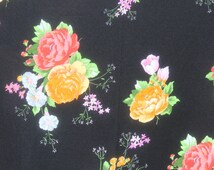 Vintage Black Flower Jersey Knit Fabric, Stretchy 1970s 70s Floral Polyester, Mod Retro Fabric Material, 3 yards