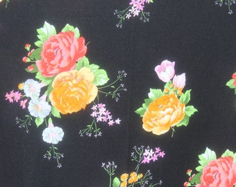 Vintage Black Flower Jersey Knit Fabric, Stretchy 1970s 70s Floral Polyester, Mod Retro Fabric Material, by the yard