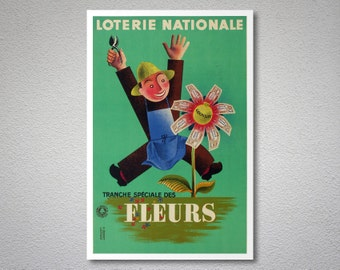 Loterie Nationale Fleurs Vintage Poster by Edgar Derouet, 1939 - Poster Paper, Sticker or Canvas Print