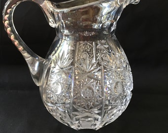 Large Lead Crystal Pitcher, 1930s, [E]