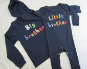Big brother and little brother set - hoodie top and babygrow- hand stitched lettering