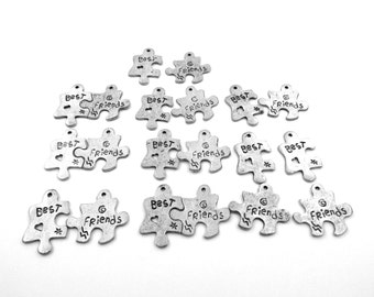 Ten (10) Pair of Best Friends Pewter Puzzle Piece Charms - 5055