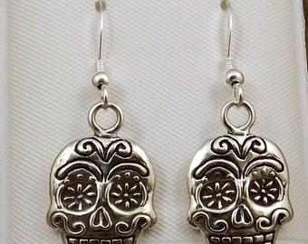 Sterling Silver Sugar Skulls Charms on Sterling Silver Ear Wire Dangle Earrings -0480