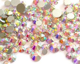 Mixed Size Crystal AB Flat Back Rhinestones High Quality