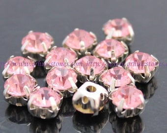 Sew on rhinestones Pink (light rose) Round chatons silver color prong setting 4mm 5mm 6mm 7mm 8mm