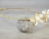 Gold Headpiece Gold leaf pearl headband, Bridal hair crown, Golden leaf headpiece, Woodland wedding tiara, wedding crown, grecian, art deco