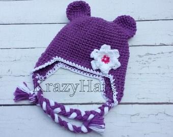 Bear hat with flowe.Crochet bear hat