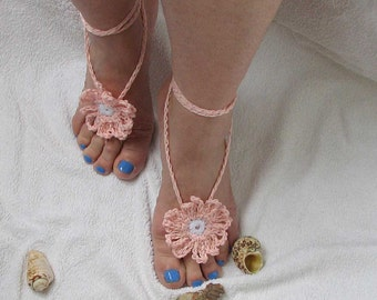 Ladies  Barefoot Sandals- Peach crochet barefoot sandals-Bridal Foot jewelry-Beach wedding barefoot sandals-Lace shoes-Beach wedding sandals