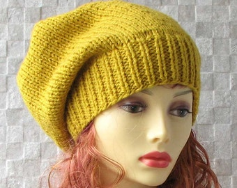 Hand knitted oversized unisex slouchy beanie. A lovely hat for men and women Mustard  Slouchy Beanie Hat Knit Hat