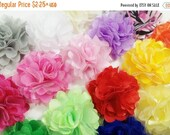 "ON SALE 5% OFF 2"" Silky Satin Mesh Flower -  You Choose Color - Assorted Color - 24 Colors Available - Hair Accessories Supplies"