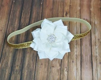 Gold Poinsettia Headband. Christmas Headband. Baby Girl Holiday Headband. Gold Glitter Poinsettia Headband.