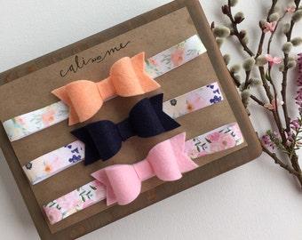 Floral Headband Set.  Baby Bow Headband Set. Felt  Bow Headbands. Baby Headbands. Gifts for Baby Girls. Baby Shower Gift