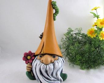 Ceramic Nature Garden Gnome - 11 inches,  lawn or garden gnome, outdoor or indoor