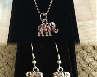 Tiny Elephant necklace and/or earrings