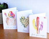 Watercolor Greeting Card. Greeting Card Set. Inspirational Cards. Holiday Cards. Watercolor Stationery. Cactus watercolor. Arizona Cards.