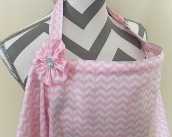 Pink chevron Nursing Cover - Pink broken chevron breastfeeding cover hooter hider with a fabric flower clippie- Ready to ship