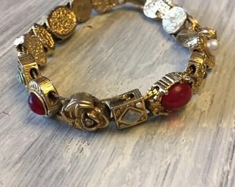 Goldette Slide Charm Vintage Bracelet, 1960s Victorian Revival, Antique Gold Charm Bracelet w/Rhinestones & Faux Pearl - R