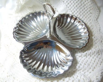 Vintage Chrome Triple Section Serving Tray, Irvinware Shell Serving Dish, Chrome Condiment Dish