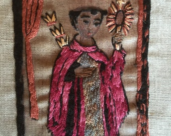 Spanish Colonial Style Santos Hand Embroidery Needlework Folk Art Religious Fiber Arts