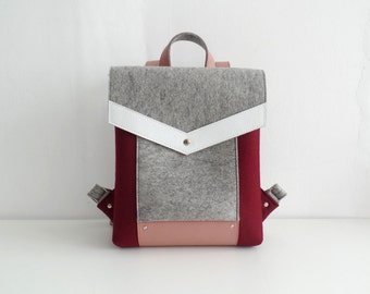 Felt Genuine Leather Backpack Cherry Gray White Pink
