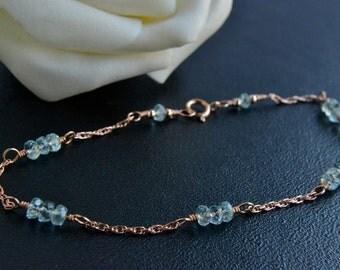 Aquamarine Bracelet, 14K Rose Gold Filled, Handmade, March Birthstone, Blue Gemstone, Happy Cats Designs
