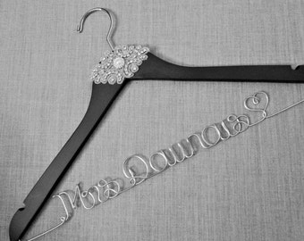 SALE - FREE Shoe Decals - RHINESTONE Wedding Dress Hanger, Vintage Inspired, High Quality, Mrs Hanger, Last Name, Bridal Hanger