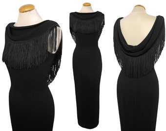 Norma Kamali 1990s Vintage Fringed Evening Dress Maxi Little Black Dress LBD Low Backline US Size 2-4 XS