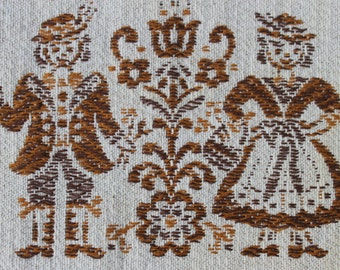 Austrian table placemat, brown, cream, boy, girl, woven, cotton