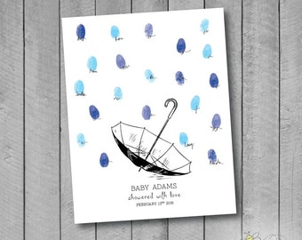 Personalized Baby Shower Umbrella Thumbprint Guestbook Poster - Fingerprint Rain Drops