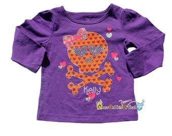 Personalized Purple Halloween Toddler Skull Shirt with Baby's Name