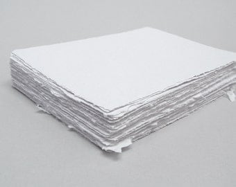 White handmade paper, recycled, deckle edge, 10 sheets, 4x6 inch