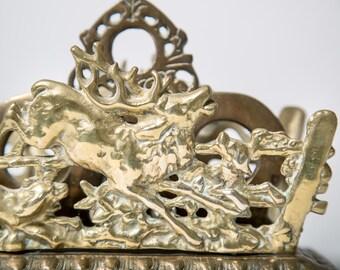 Brass Elk Letter Holder Antique Hunting Scene 1900s