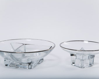 Silver Rimmed Snack Bowl Set Dorothy Thorpe Style Square Bottom Chip and Dip Glassware