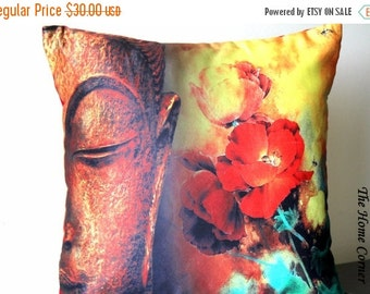 Buddha Throw Pillow, Buddha Satin Pillow Cover, Buddha, Decorative Cushion, Home Decor, Contemporary, 16x16 pillow, Asian Decor