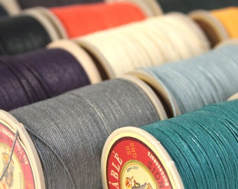 Fil Au Chinois Lin Cable No. 332 and No. 432, 50g Spool of French Corded Waxed Linen Thread