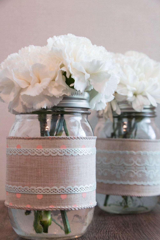 Lacey Burlap themed mason jar decor for 6 jars, Burlap and ...  Lacey Burlap th...