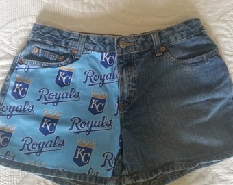 Upcycled Kansas City Royals denim shorts. Old Navy size 6. Can be made in other sizes and other teams.