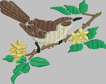 Bird 14 Digitized Machine Embroidery Design Wren on a tree branch