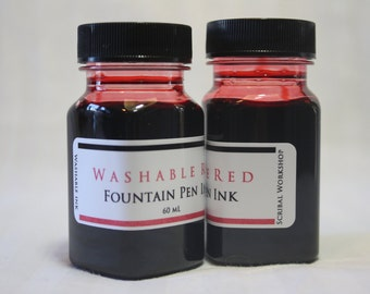Washable Fountain Pen Ink, 2 oz red, bear bottle