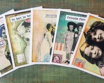"""Vintage Girl Notecards, Set of 5 cards, CLEARANCE, Mixed Media Art Cards, Photo Collage Cards, Vintage women, 4.25x5.5"""" eco-friendly, Set D"""