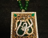 Rectangle Allah necklace with kundan and emerald, zircon center, emerald necklace, islamic calligraphy, green pendant